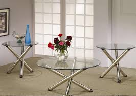 nickle plated legs u0026 round glass top modern 3pc coffee table set