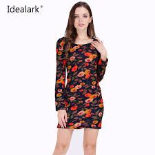 aliexpress com buy idealark print long sleeve crew neck sheath