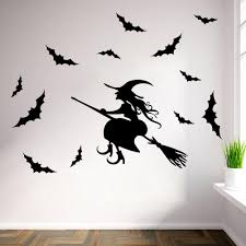 witch vinyl decals online witch vinyl decals for sale halloween wall sticker diy removable halloween witch bats wall decals halloween decoration baby room kids room wall decor