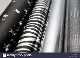 black wrapping paper silver and black christmas wrapping paper uk stock photo