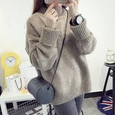 women korean oversized sweater slim cashmere thick bottoming