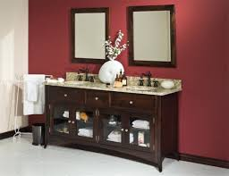 striking into modern bathroom with various vanity cabinets