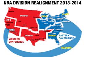 nba divisions map nba division conference realignment lakers
