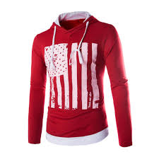 American Flag Hoodies For Men Men Fall Cotton Blend American Flag Hooded Long Sleeve T Shirt At