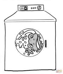 frog in the washing machine coloring page free printable