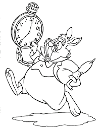 alice in wonderland white rabbit run and panic coloring pages for