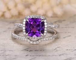 Amethyst Wedding Rings by View Amethyst Rings By Kilarjewelry On Etsy
