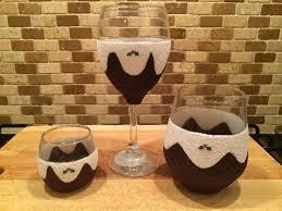 christmas pudding wine glass tumbler and tea light glitter