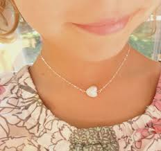 childrens necklace sterling silver children s necklace pearl heart necklace