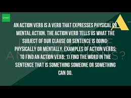 what is the meaning of action verb youtube