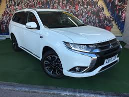 white mitsubishi outlander used mitsubishi outlander phev 5h white 2 0 estate bridgend