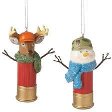 u0026 snowman shotgun shell christmas ornaments set of 2
