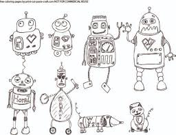 robots coloring created free printable pdf
