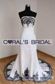 wedding dress trim jsw9 f white with black trim mermaid wedding dress coral s bridal