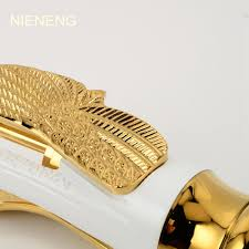 Swan Faucet Gold Nieneng Bath Sink Mixer Bathroom Faucet Golden Tap Accessories