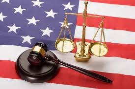 justice scale and wood gavel on usa flag stock photo image 50542118
