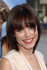 weighted shorthairstyles short haircuts with bangs side swept choppy straight across
