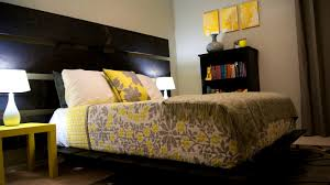 bedroom fascinating cool and elegant grey yellow bedroom for