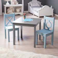 lipper childrens table and chair set lipper hugs and kisses table and 2 chair set gray blue from