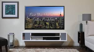 Tv For Small Bedroom Floating White Wooden Wall Mount With Shelves And Small Storage