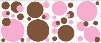 pink combination roommates rmk1245scs just dots pink and brown peel stick wall