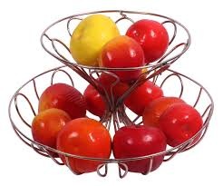 tier fruit basket in iron u2013 abstract pattern u2013 silver color finish