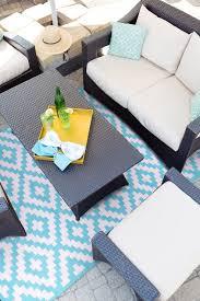 aqua sky and white indoor outdoor rug green decore