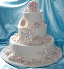 fondant shell wedding cake with pink accents cakes pinterest