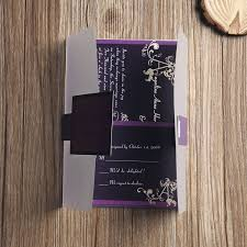 affordable pocket wedding invitations affordable purple vine monogram pocket wedding invitations ewpi068