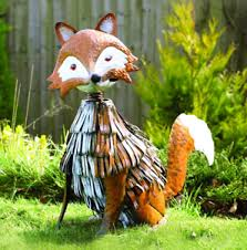 large orange nodding metal fox garden ornaments metal garden