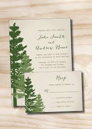 wedding invitations and response cards rustic pine tree wedding invitation and response card