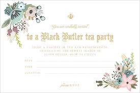 Tea Party Invitation Card You Are Cordially Invited To A Black Butler Book Of Circus Tea