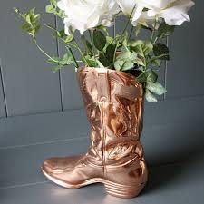 Cowboy Boot Planter by Copper Cowboy Boot Planter By London Garden Trading