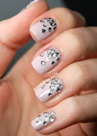 dressed up nails heart rhinestone gradient nail art nail designs