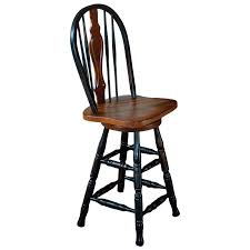 Stools With Backs Furniture Traditional Black And Brown Wooden Counter Stools With
