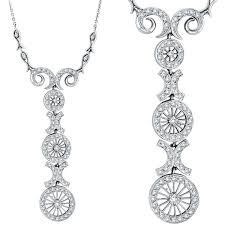 pendant necklace white gold images 14k white gold antique style 86ct diamond pendant necklace jpg
