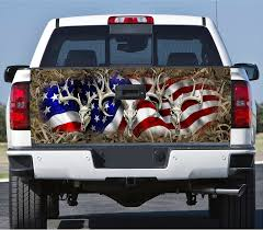 hunting truck decals amazon com truck tailgate wrap decal deer skull flag grass camo