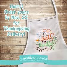 thanksgiving apron eat drink and be thankful embroidered apron