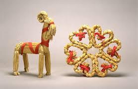 swedish yule goat and wreath
