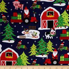 michael miller holiday santa u0027s farm navy apparel crafting