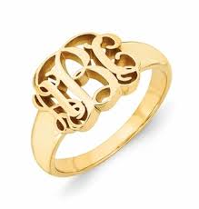 monogram rings gold monogram rings in yellow or white 14 karat gold script lettering