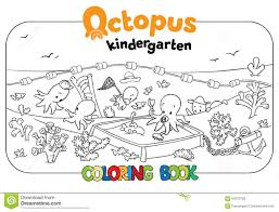 octopus kindergarten coloring book stock vector image 64572728