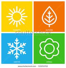 set colorful icons seasons seasons winter stock vector 533253763