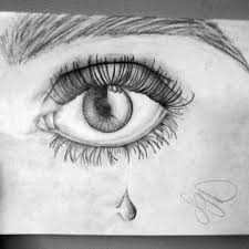 pencil drawing sketch left eye teardrop amazing drawing of eye