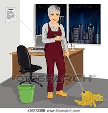 femme de m駭age bureau clipart personne agee femme ménage éponger plancher dans