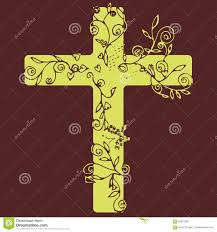 cross in yellow color design on dark purple background with flora