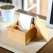 Small Desk Organizer Small Bamboo Storage Box With Cover Modern Style Wood Desk