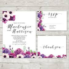 wedding invitations floral purple hydrangea flower wedding invitation floral wedding