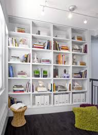 White Bookcase Ideas Interior Cheerful Small White Home Library Design With Green Fur
