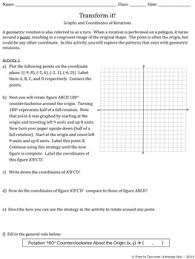 transformations rotations discovery worksheets by free to discover